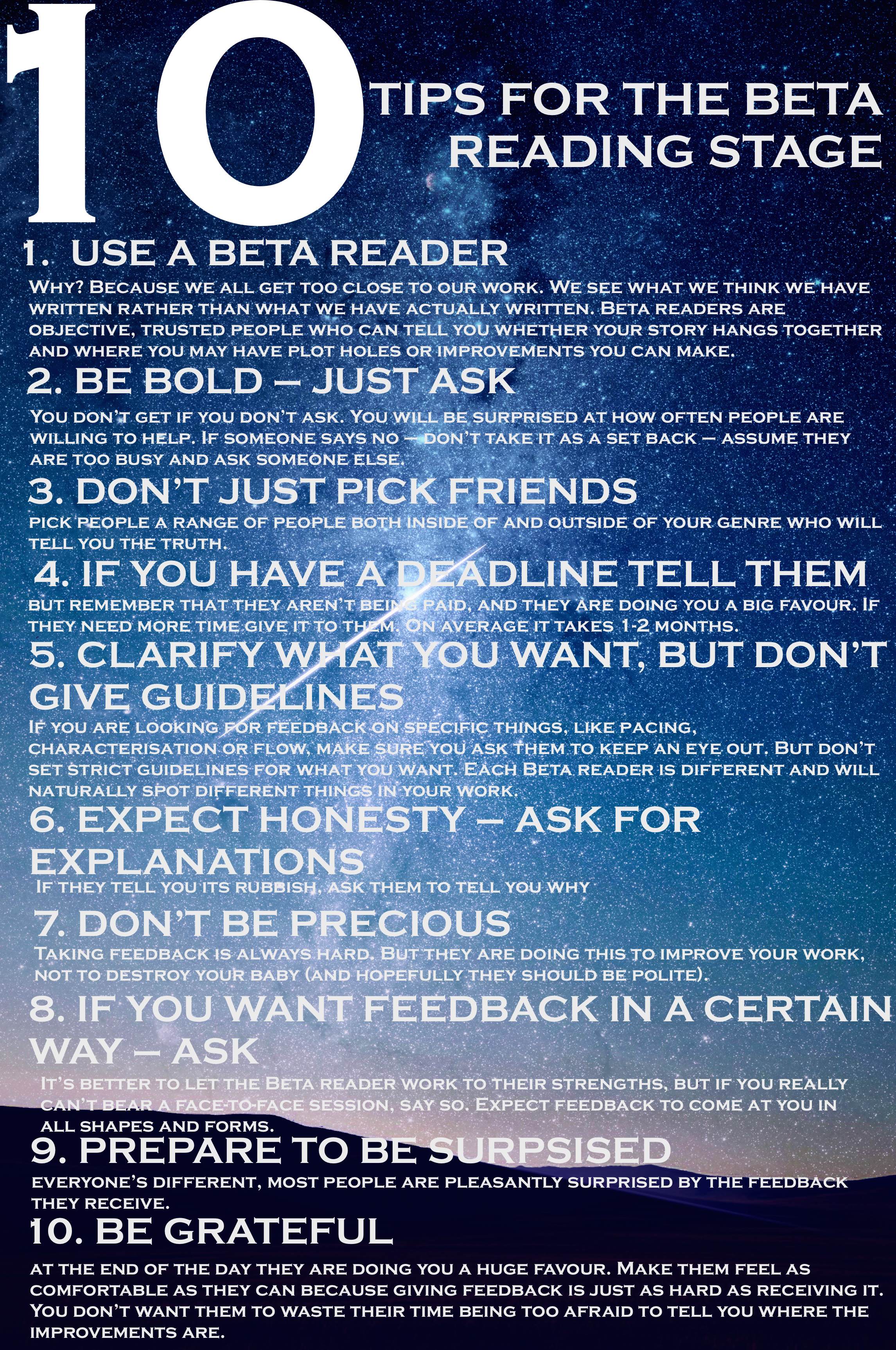10 TOP TIPS For the BETA Reading Stage - SACHA BLACK